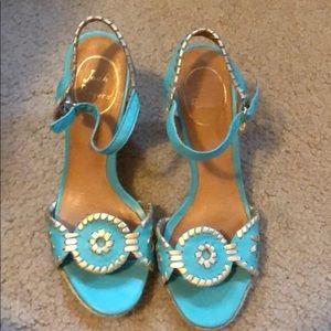 Jack Rodgers turquoise and gold espadrilles